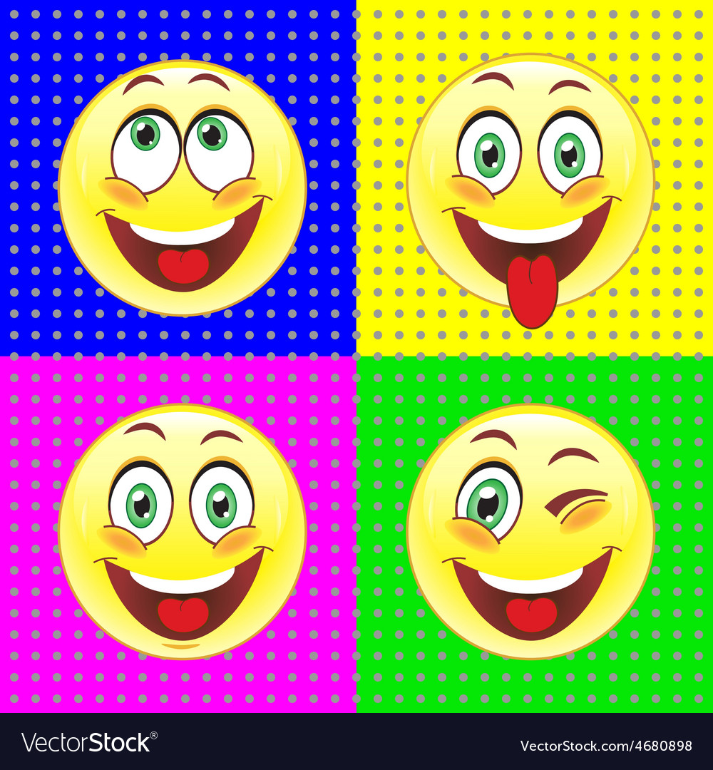 Cheerful smiles on bright backgrounds vector | Price: 1 Credit (USD $1)