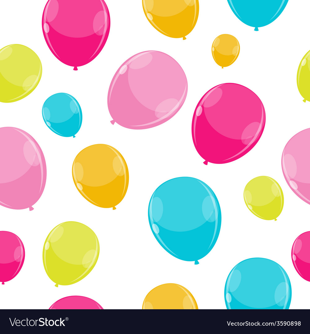 Color glossy balloons seamles pattern background vector | Price: 1 Credit (USD $1)