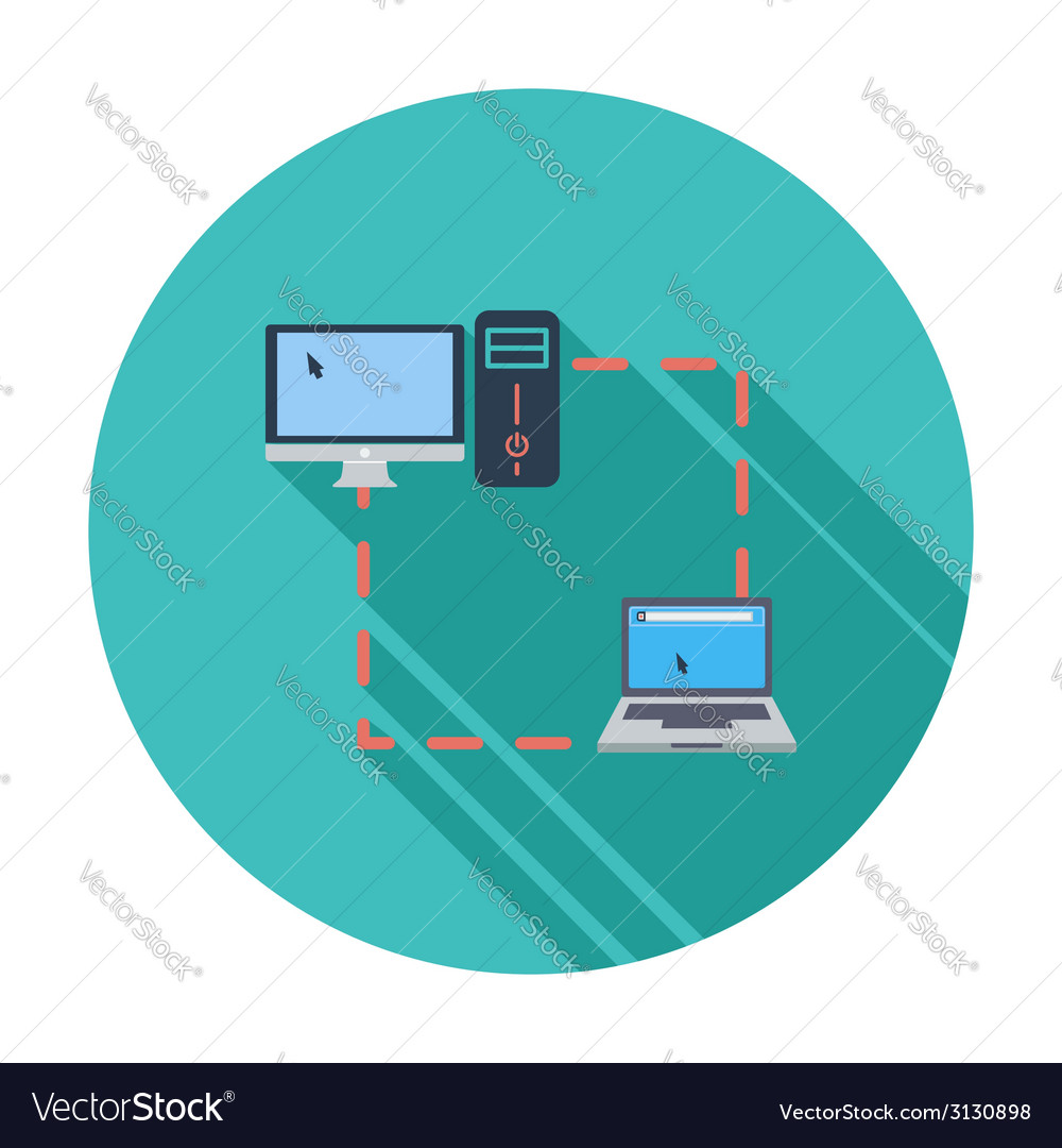 Computer sync single flat icon vector | Price: 1 Credit (USD $1)