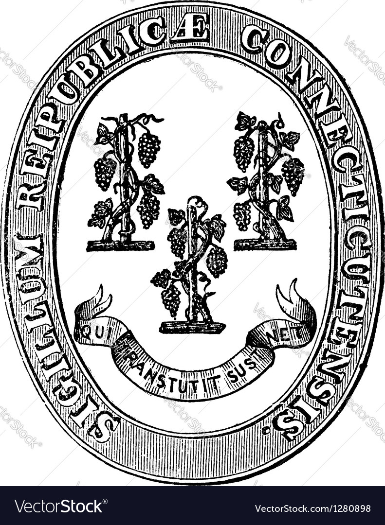 Connecticut seal vintage engraving vector | Price: 1 Credit (USD $1)