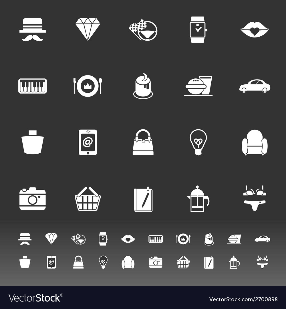 Department store item category icons on gray vector | Price: 1 Credit (USD $1)
