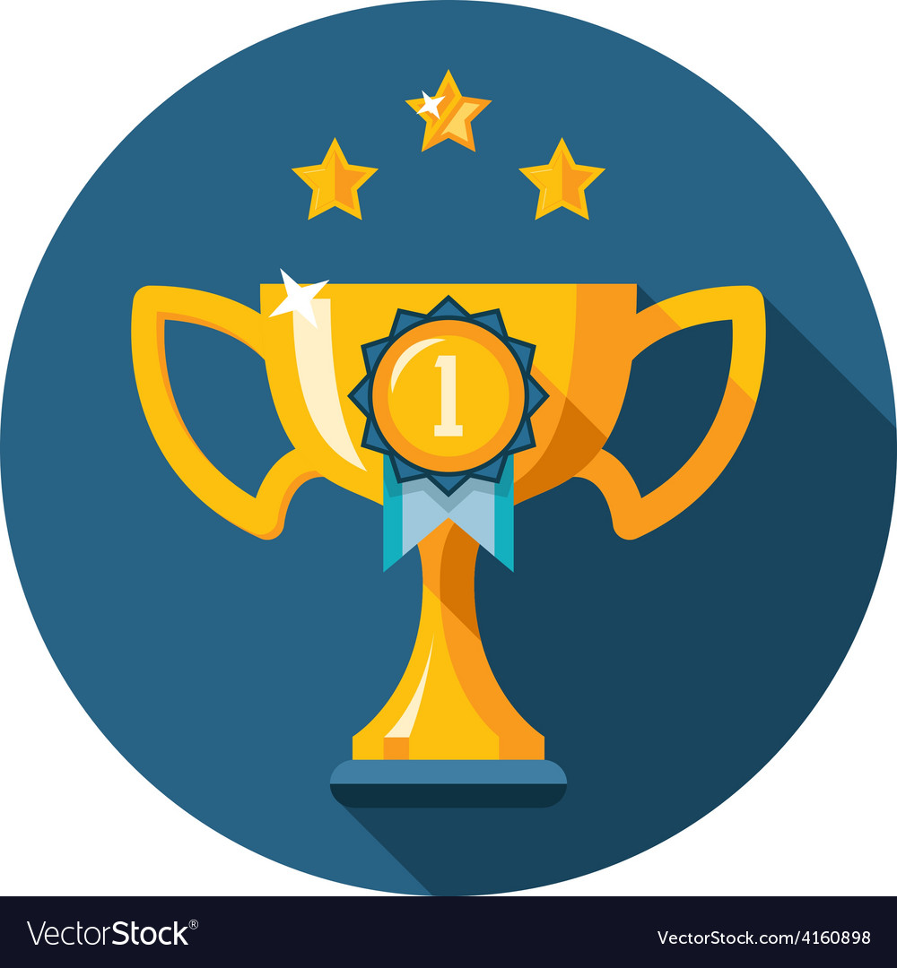 Gold winner trophy cup flat icon vector   Price: 1 Credit (USD $1)