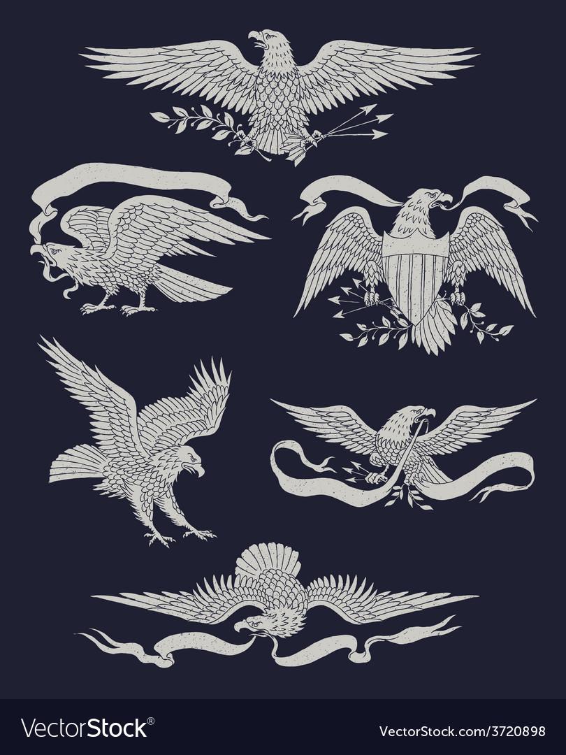 Hand drawn vintage eagle set vector | Price: 3 Credit (USD $3)