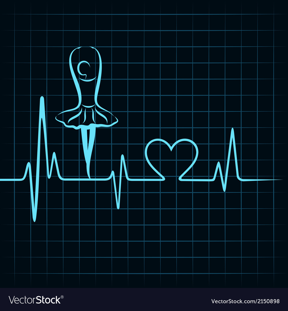 Heartbeat make a dancing girl and heart symbol vector | Price: 1 Credit (USD $1)