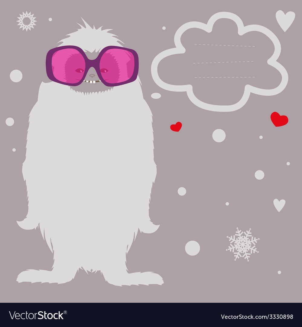 Holiday card with yeti vector | Price: 1 Credit (USD $1)