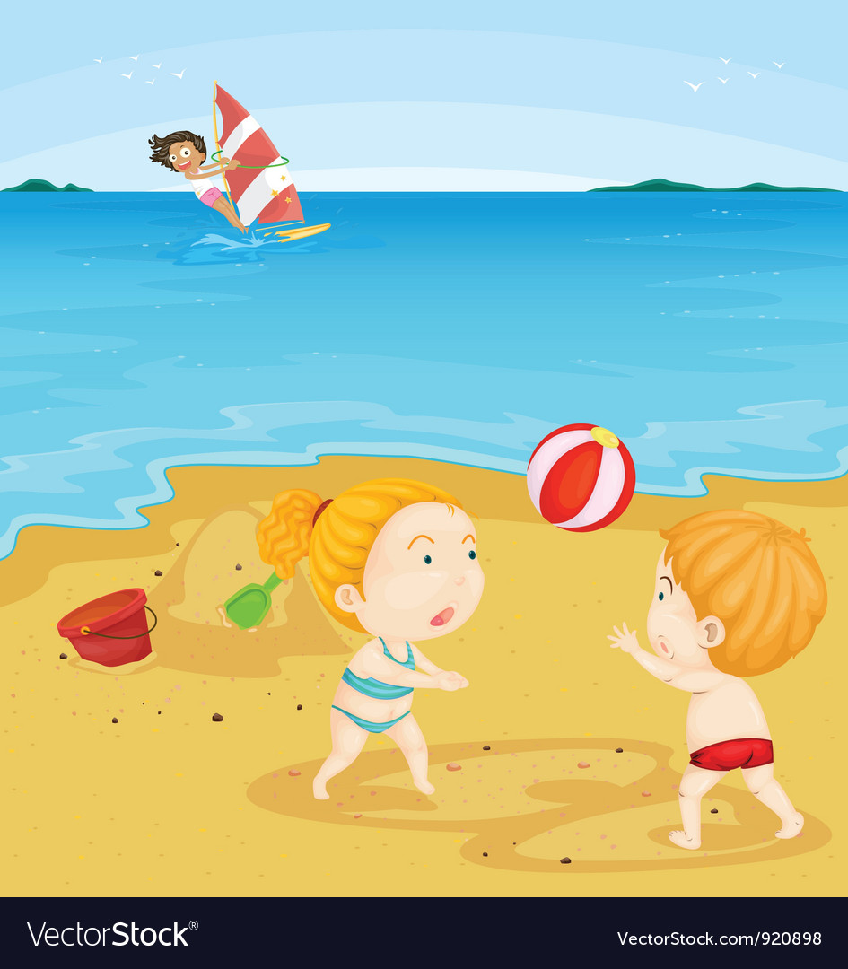 Kids playing at beach vector | Price: 3 Credit (USD $3)