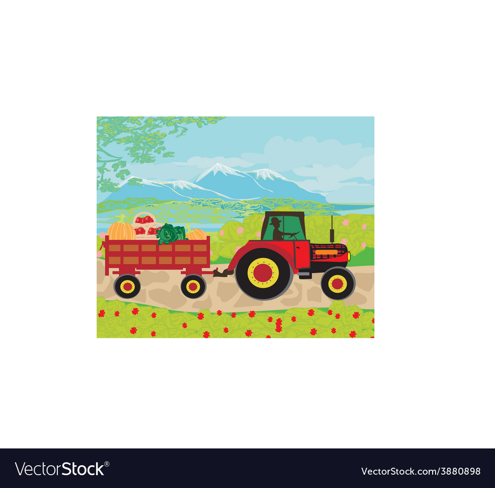 Man driving a tractor with a trailer full of vector | Price: 1 Credit (USD $1)