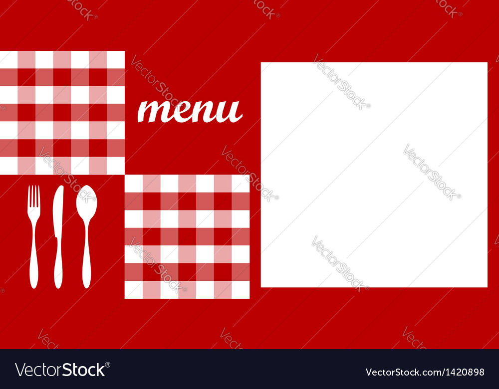 Menu design red tablecloth cutlery and white for vector | Price: 1 Credit (USD $1)
