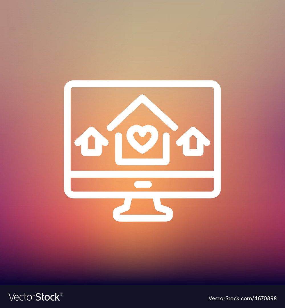 Online monitoring thin line icon vector | Price: 1 Credit (USD $1)