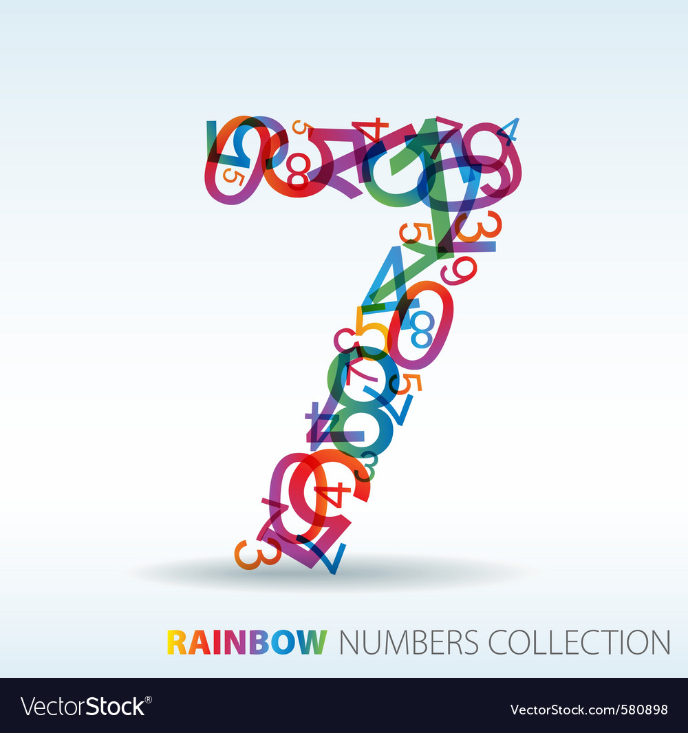 Rainbow number seven vector | Price: 1 Credit (USD $1)