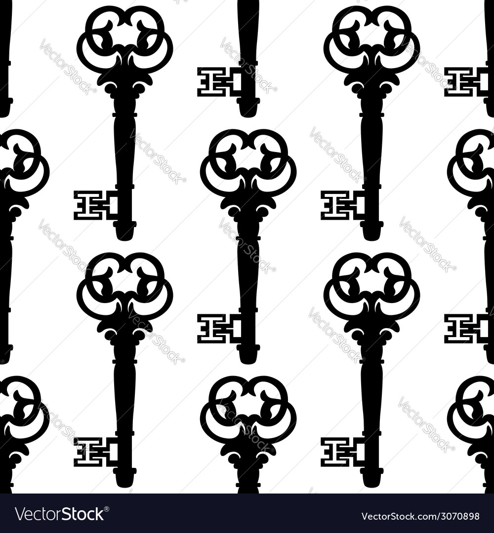 Seamless background pattern of antique keys vector | Price: 1 Credit (USD $1)