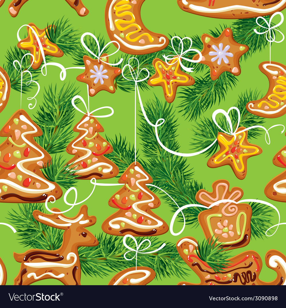 Seamless christmas pattern - xmas gingerbread vector | Price: 1 Credit (USD $1)