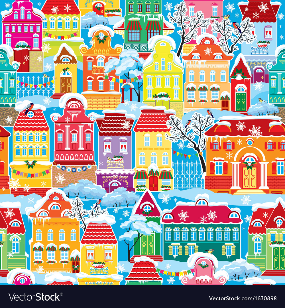 Seamless pattern with decorative colorful houses vector | Price: 3 Credit (USD $3)