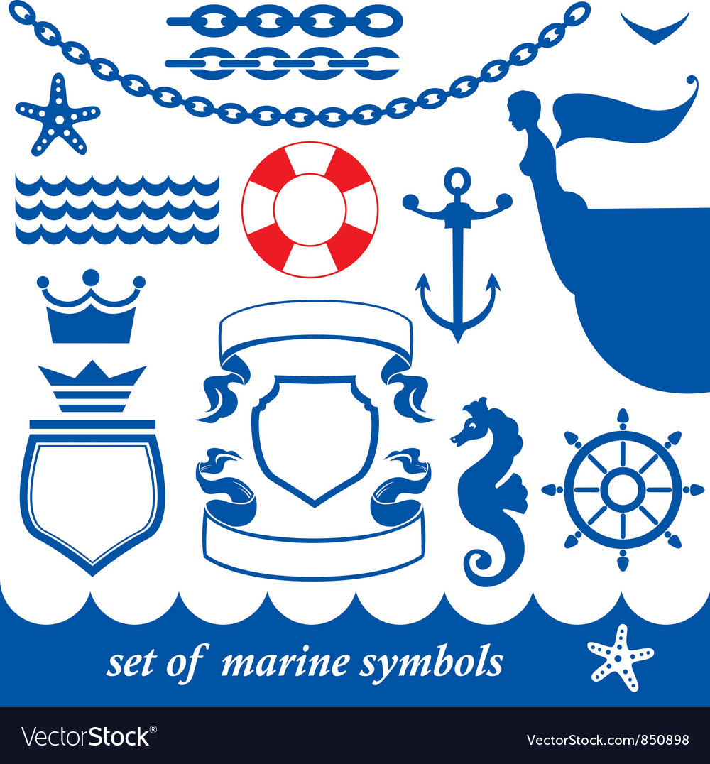 Set of marine elements - chain anchor crown vector | Price: 1 Credit (USD $1)