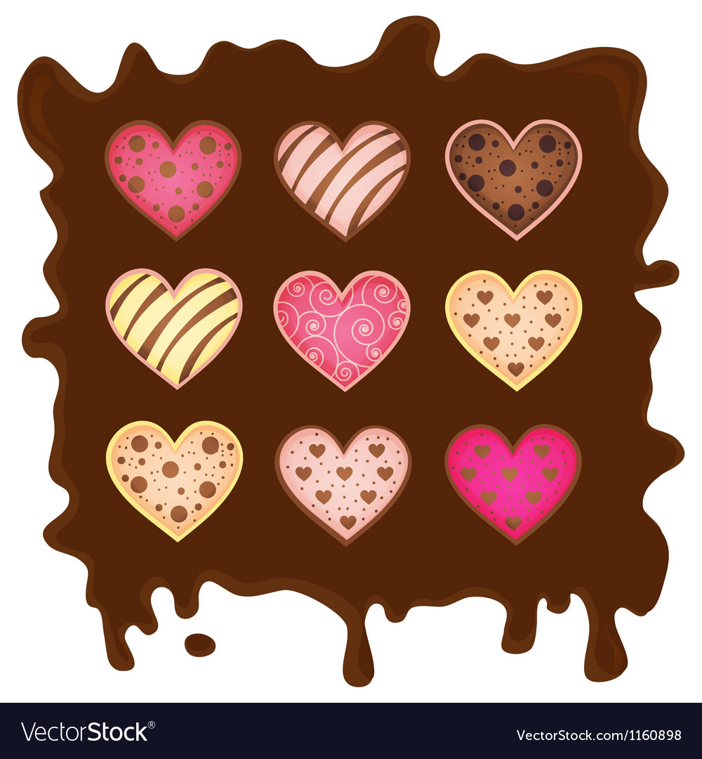 Sweetmeats in form heart on chocolate background vector | Price: 1 Credit (USD $1)