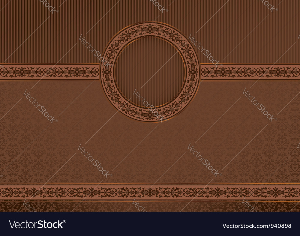 Vintage horizontal card on damask background vector | Price: 1 Credit (USD $1)