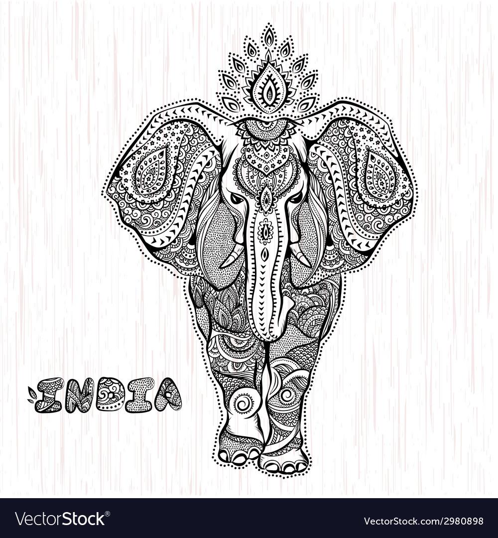 Vintage indian elephant vector | Price: 1 Credit (USD $1)