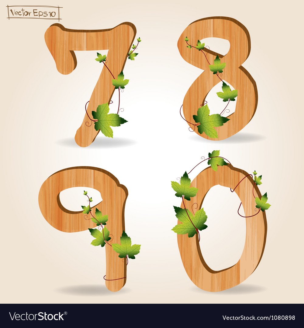 Wood alphabet number with branch green leaves vector   Price: 1 Credit (USD $1)