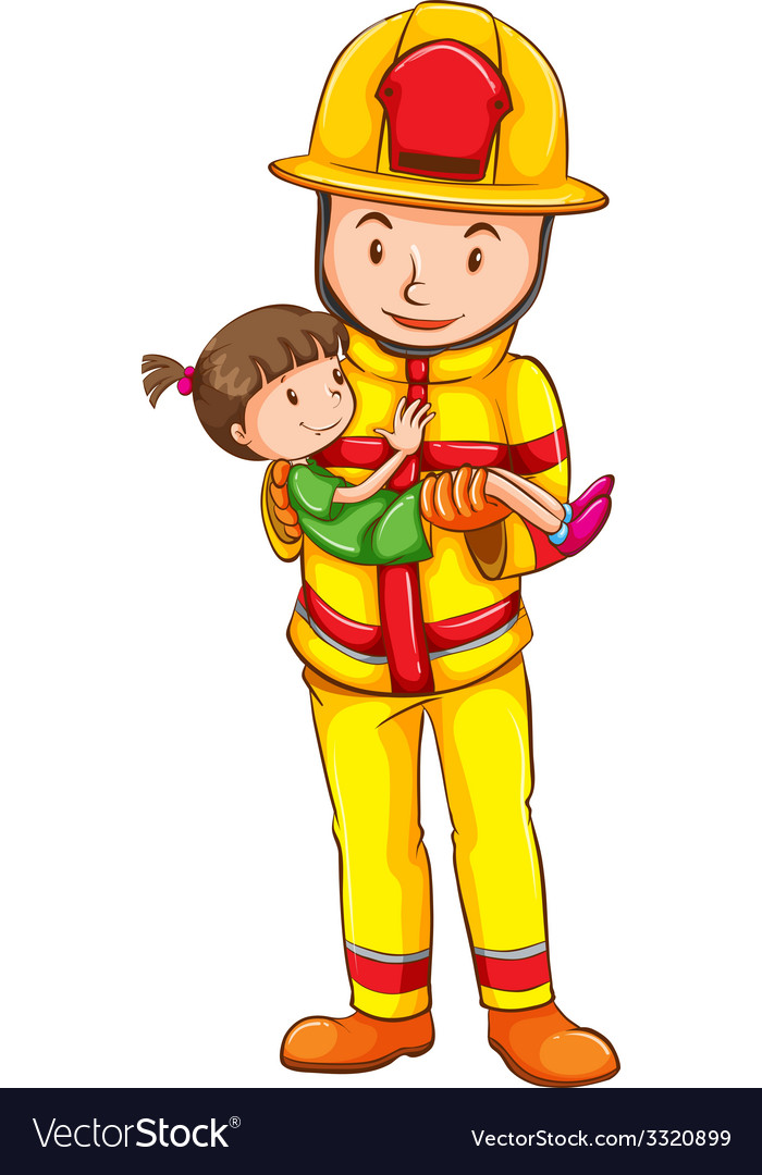 A fireman rescuing a girl vector | Price: 1 Credit (USD $1)