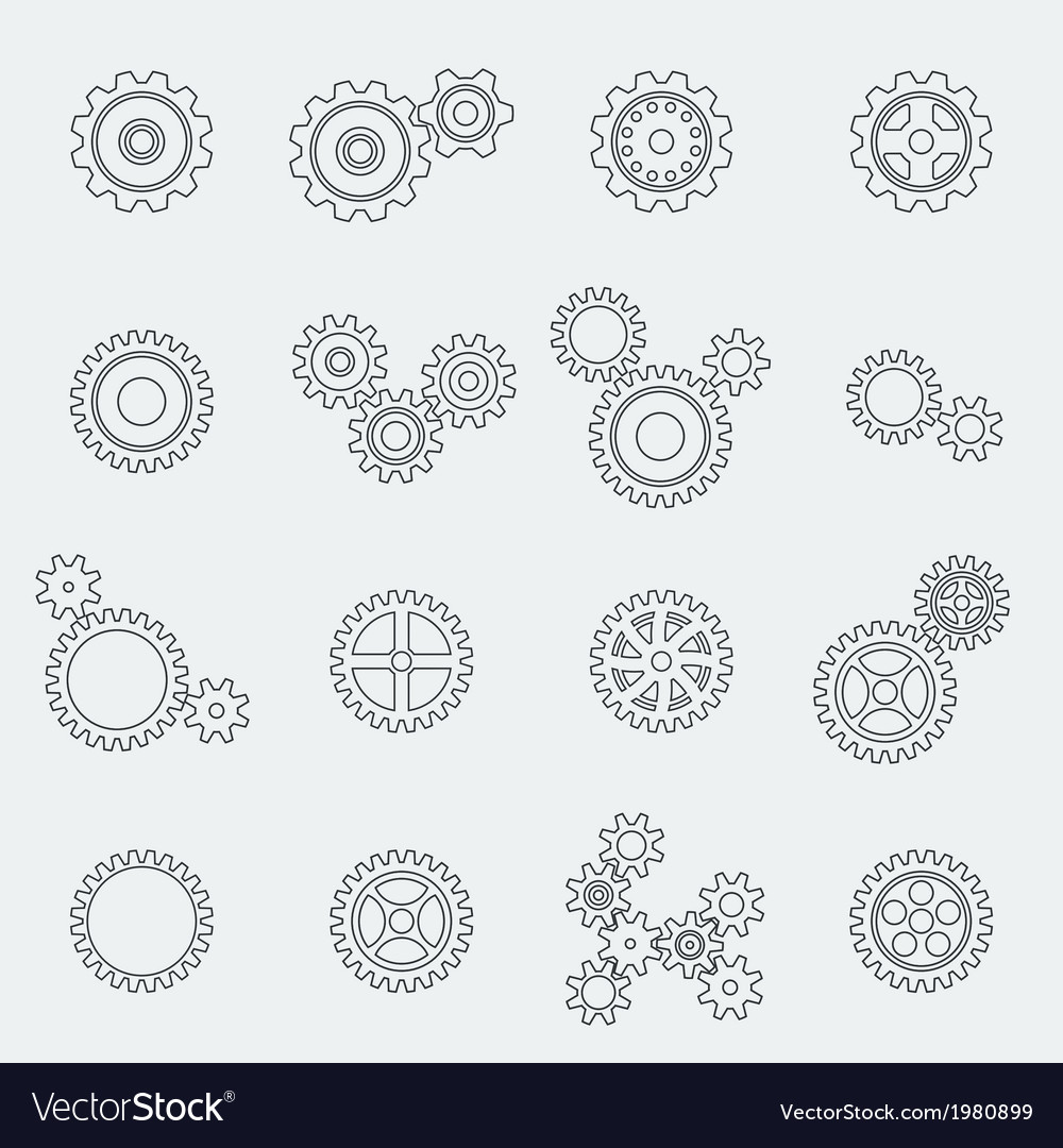 Cogs wheels and gears pictograms vector | Price: 1 Credit (USD $1)