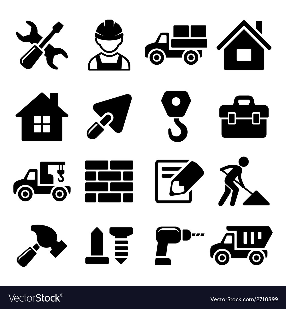 Construction icons set on white background vector | Price: 1 Credit (USD $1)