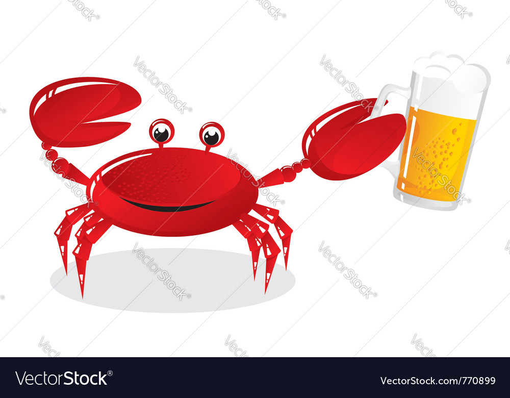 Crab holds beer vector | Price: 1 Credit (USD $1)