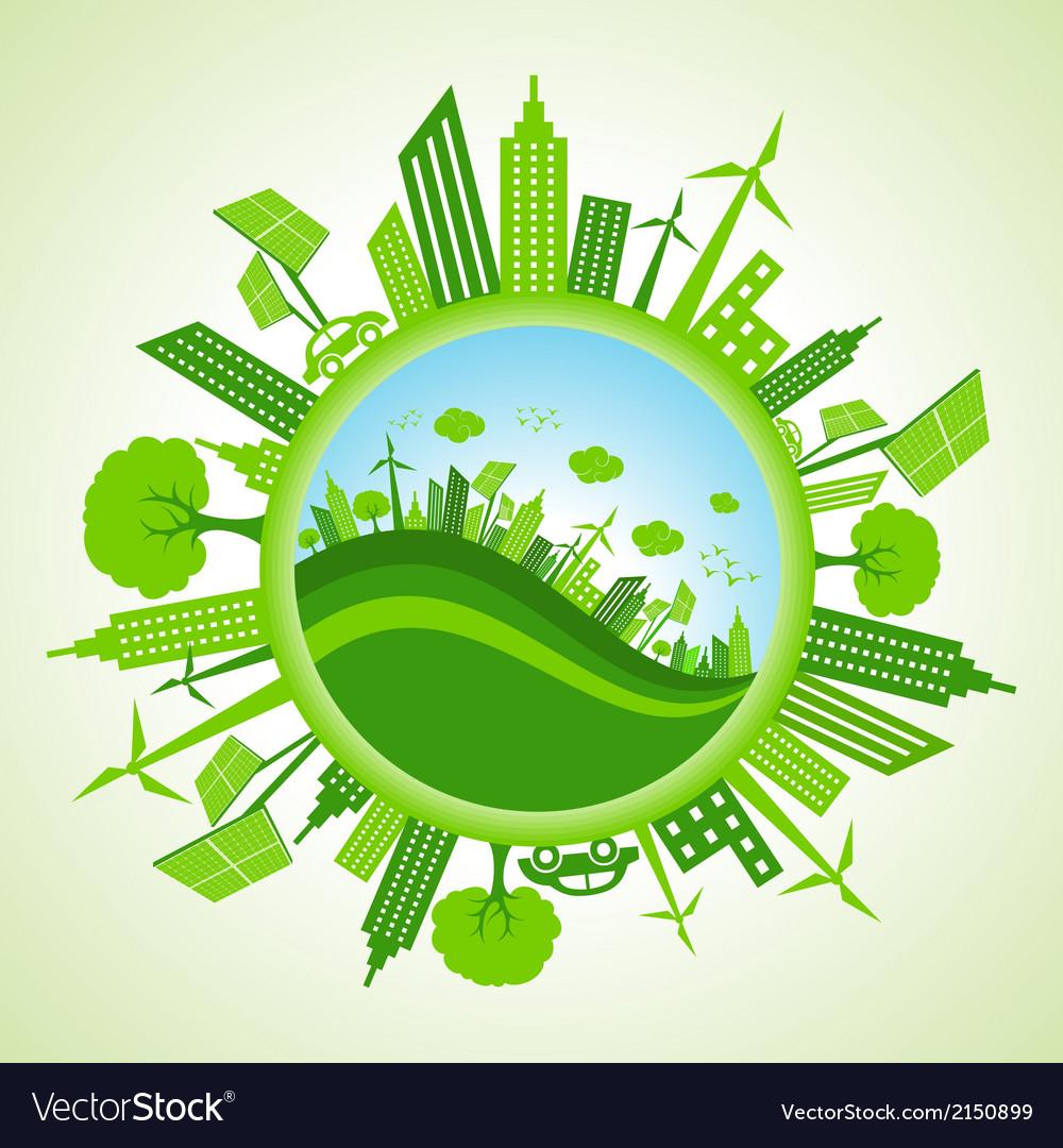 Eco cityscape vector | Price: 1 Credit (USD $1)