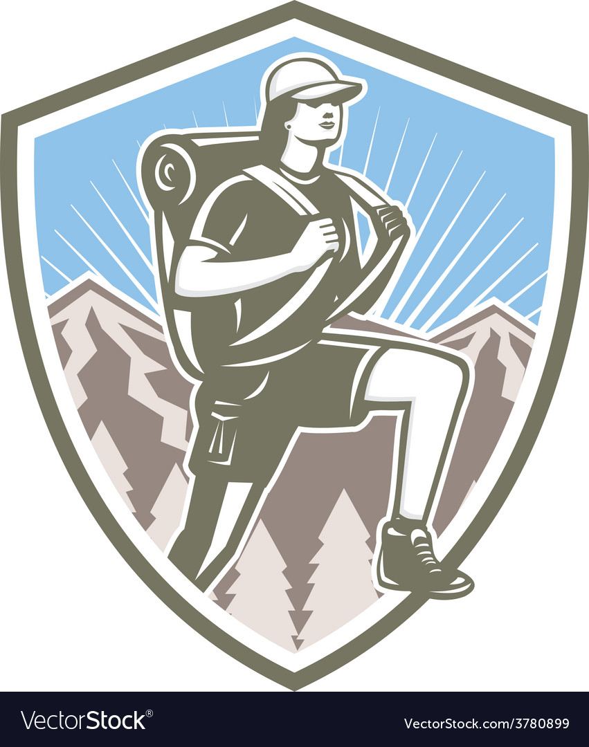 Female hiker hiking mountain shield retro vector | Price: 1 Credit (USD $1)