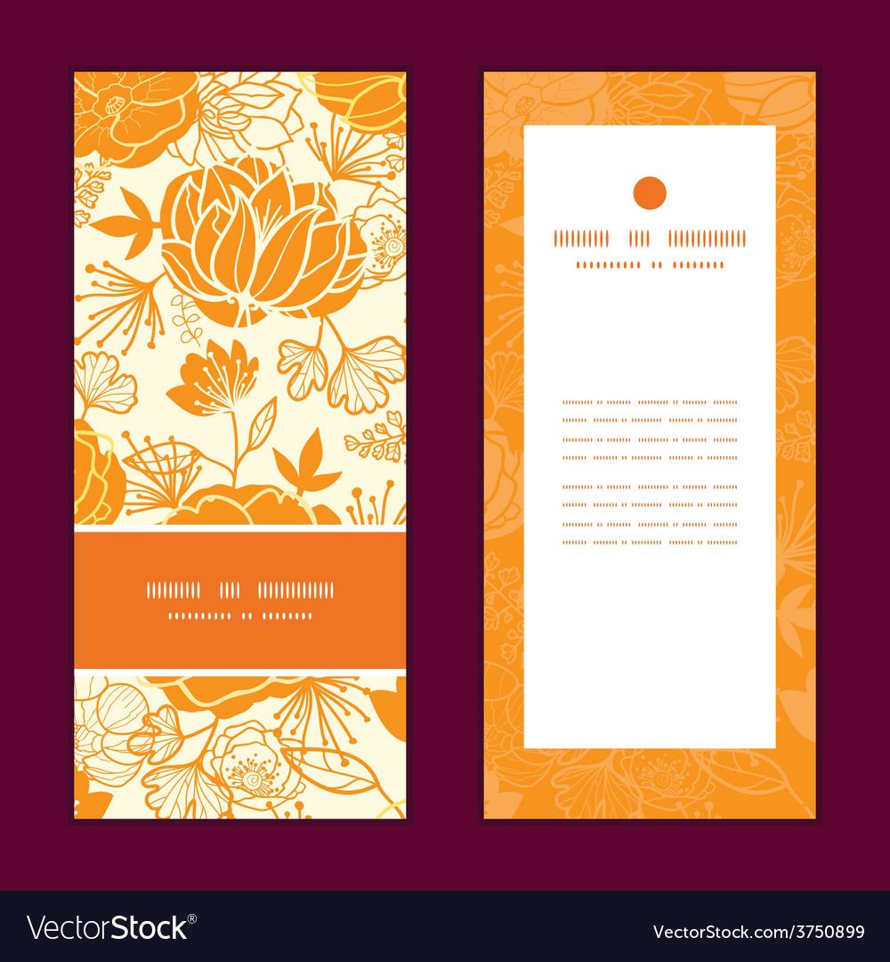 Golden art flowers vertical frame pattern vector | Price: 1 Credit (USD $1)