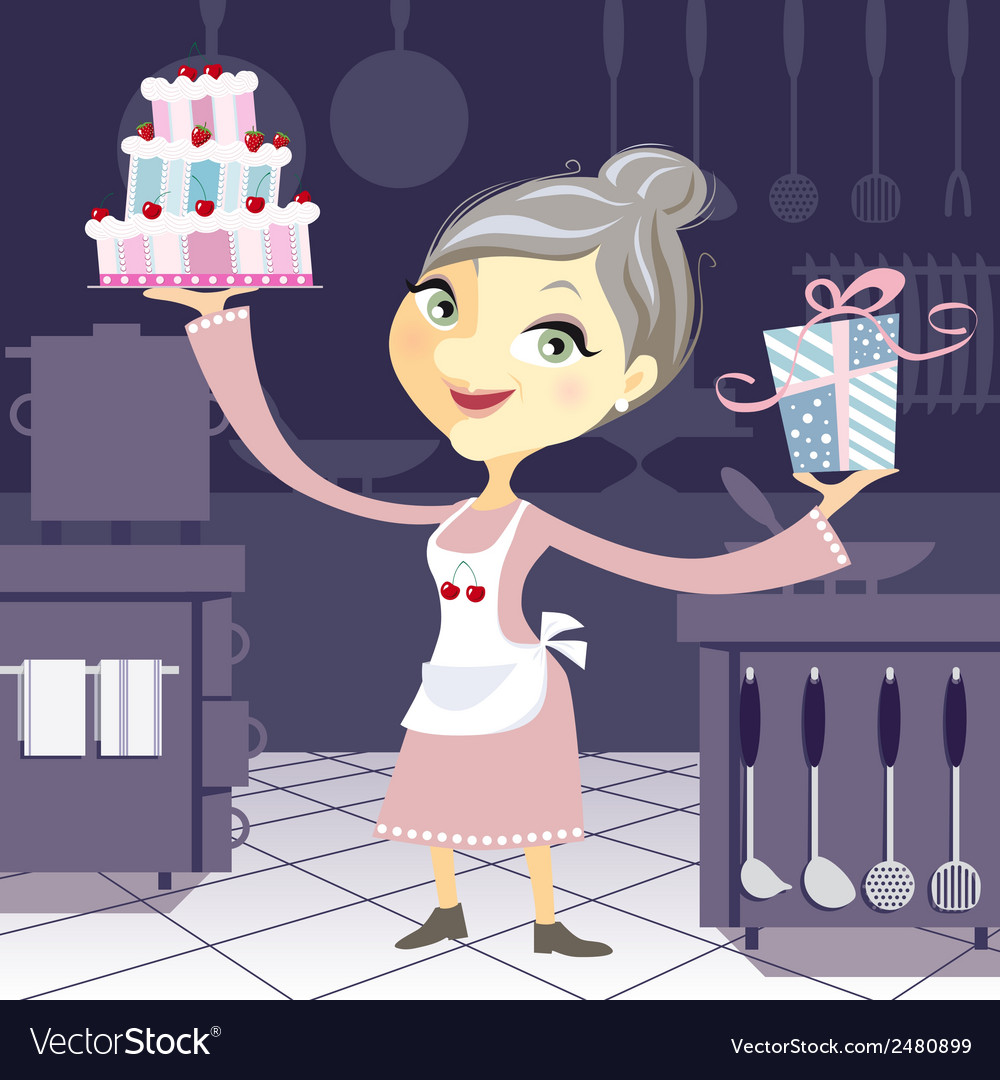 Happy grandmother in the kitchen with a birthday vector | Price: 1 Credit (USD $1)
