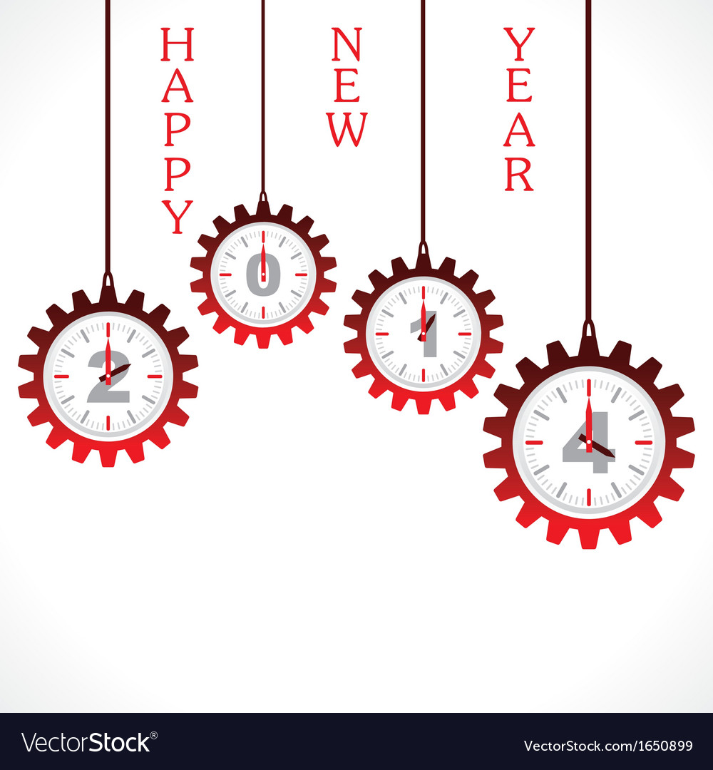 New year greeting 2014 with gear vector | Price: 1 Credit (USD $1)