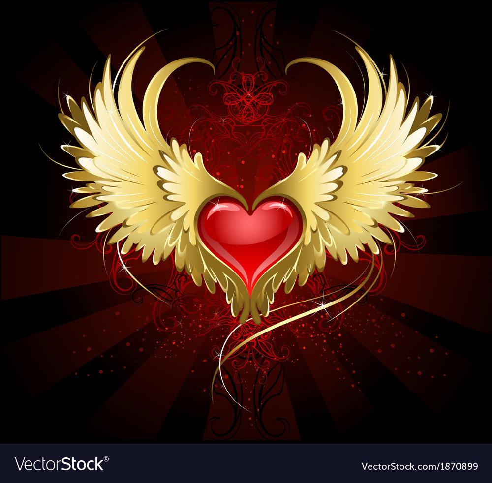 Red heart with golden wings vector | Price: 1 Credit (USD $1)