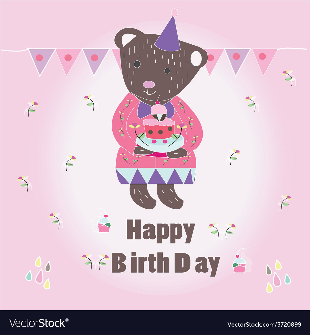 Sweet happy biryhday card with bear vector | Price: 1 Credit (USD $1)