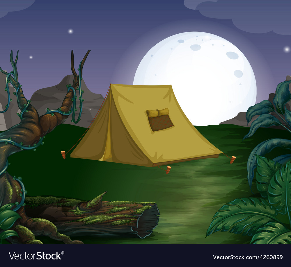 Tent and fullmoon vector