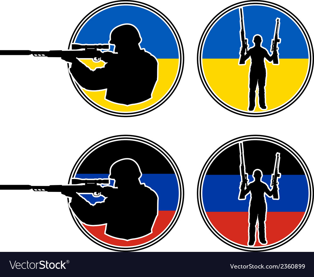 Ukrainian and pro russian soldiers vector | Price: 1 Credit (USD $1)
