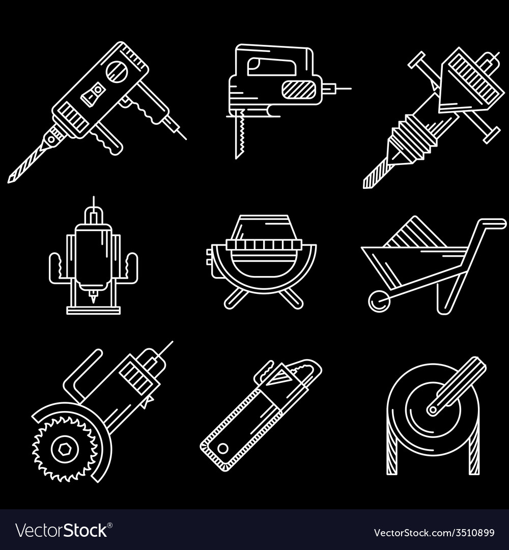 White outline icons for construction equipment vector | Price: 1 Credit (USD $1)