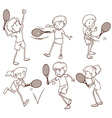 Sketches of people playing tennis vector