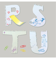 English alphabet - letters are made of old paper vector