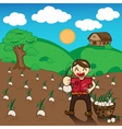 Farmer and onion plants a harvest cartoon vector