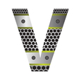 Perforated metal letter v vector