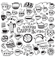 Coffee cups doodles vector