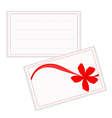 A white gift card with beautiful red ribbon vector