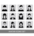 Black avatar icon set vector