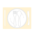 Empty plate with spoon chopsticks and knife fork vector