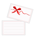 White gift card with beautiful red ribbon vector