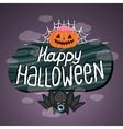 Happy halloween sign with pumpkin bat web vector
