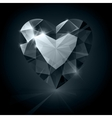 Black shiny diamond heart shape on black vector