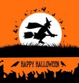 Happy halloween background with spooky witch on vector