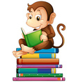 Monkey and books vector