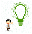 Light bulb idea with creative drawing environment vector